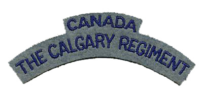 An embroidered first pattern Calgary Regiment (Tank) shoulder title. Circa 1941-1942.