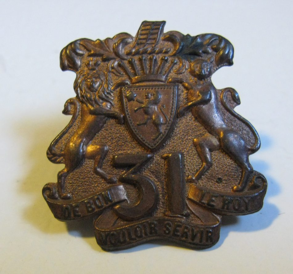 31st Grey Regiment pre-1914 Collar Badge