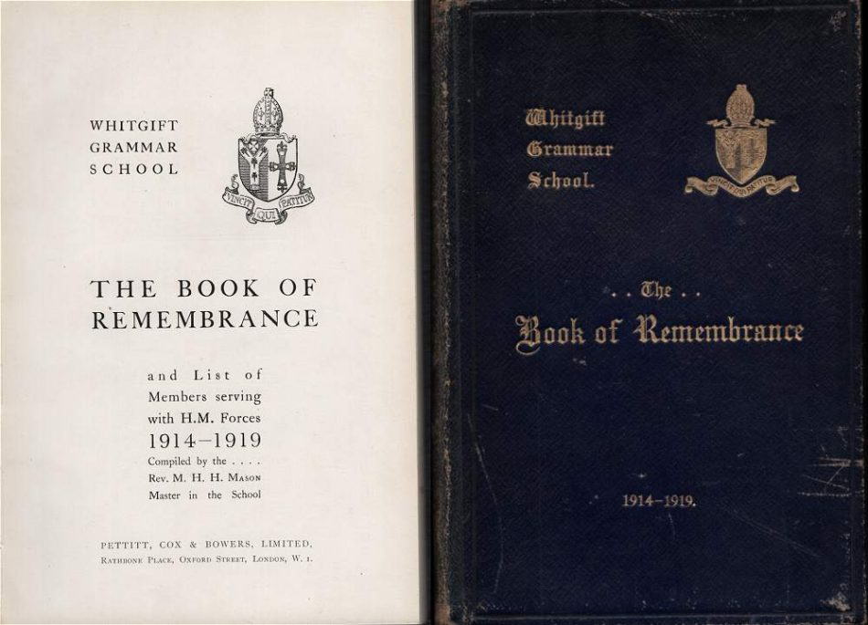 Whitgift Grammar School Book of Remembrance 1914-1919
