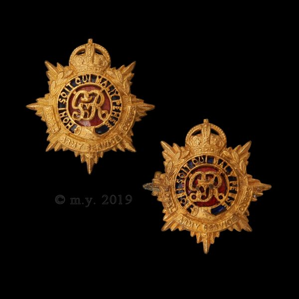 Royal Army Service Corps GVR Cypher Officer's Collar Badges