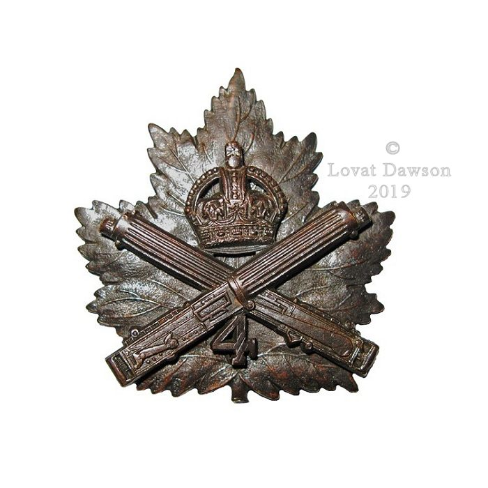 Canadian Expeditionary Force – 4th Canadian Machine Gun Company Cap Badge