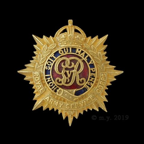 Royal Army Service Corps GVR Cypher Officer's Cap Badge