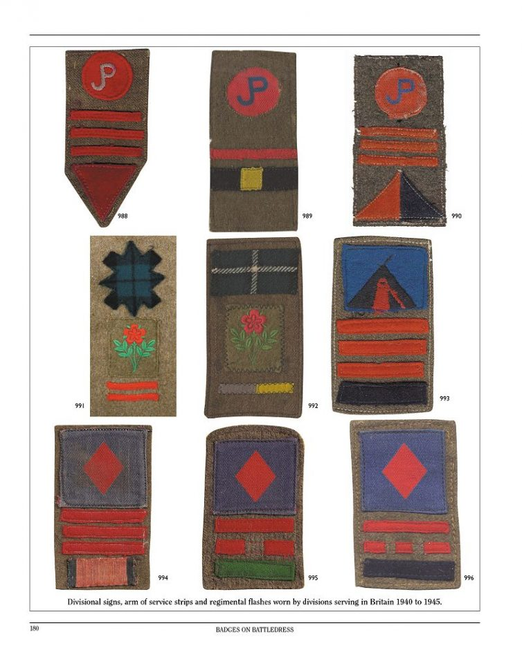 Divisional signs, arm of service strips and Regimental flashes worn by divisions serving in Britain 1940 to 1945