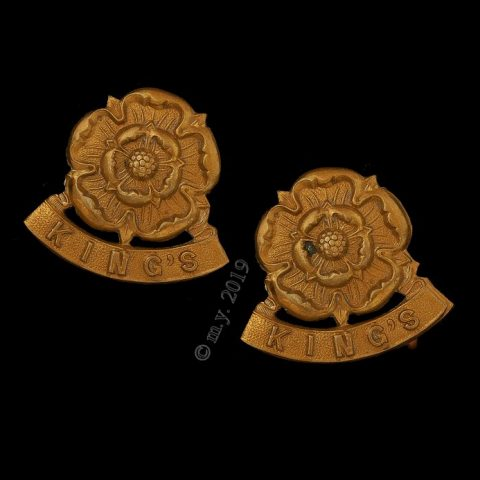 The King's (Liverpool Regiment) Rose Collar Badges
