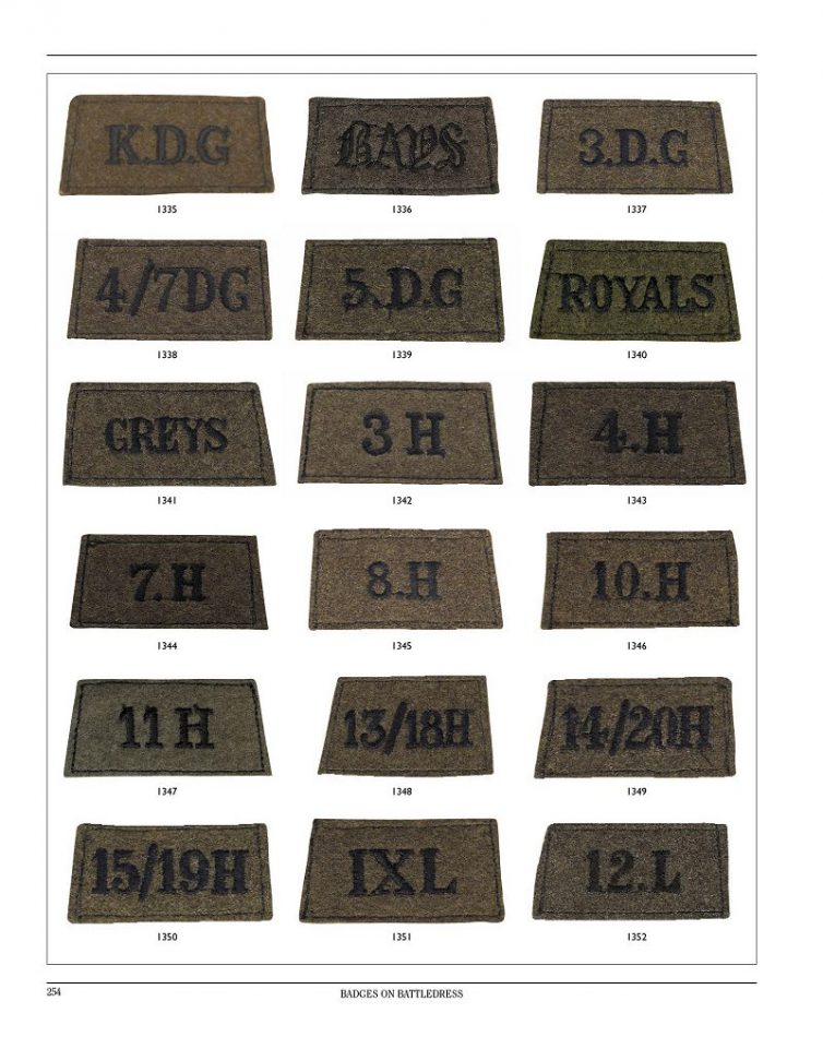 World War II British cavalry Regiment slip on Shoulder titles