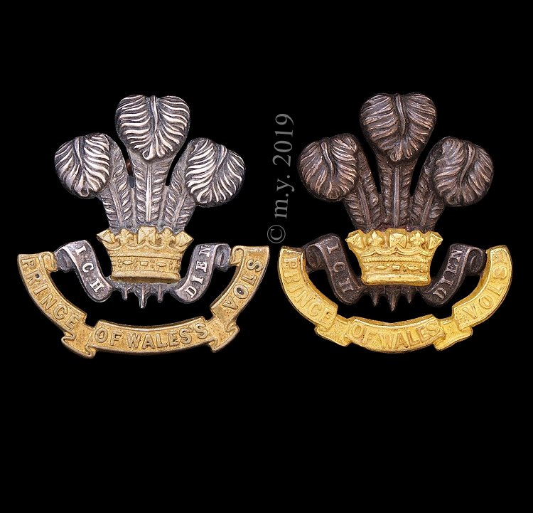 South Lancashire Regiment Officers Collar Badges, 'Wales' and 'Wales's' Variations.