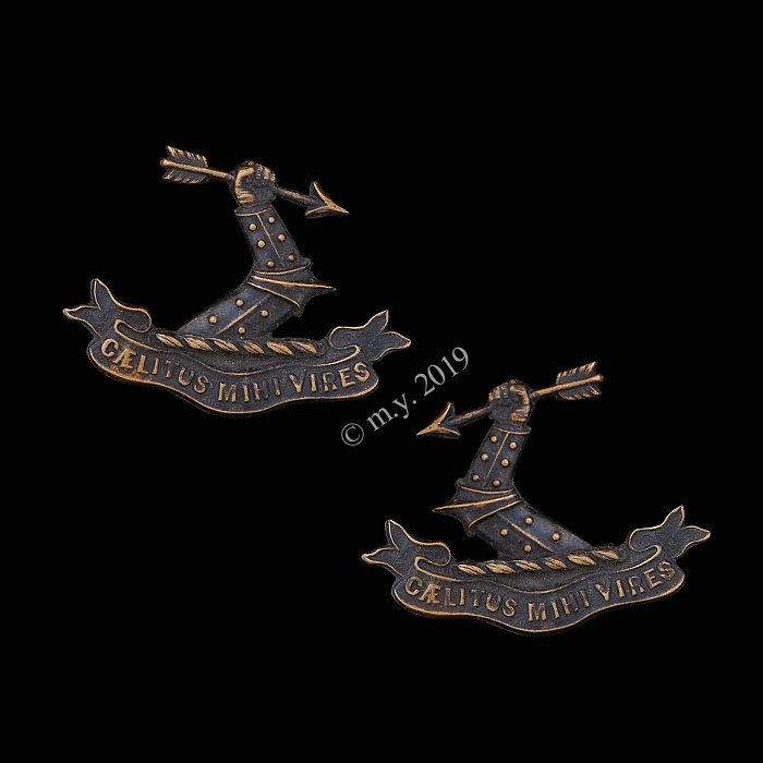 2nd (South Middlesex) Volunteer Rifle Corps Collar Badges. Caelitus Mihi Vires