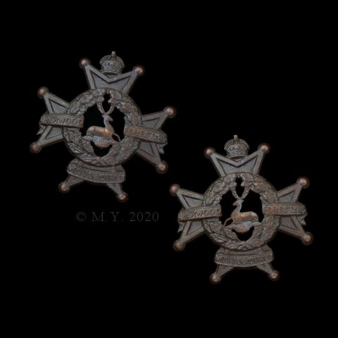 The Sherwood Foresters (Nottinghamshire and Derbyshire Regiment) Officers Collar Badges