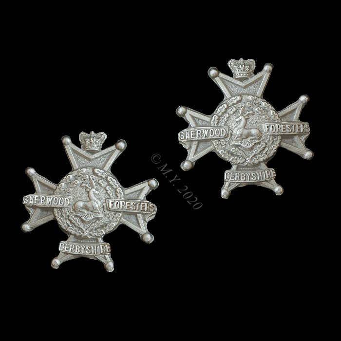 The Sherwood Foresters (Nottinghamshire and Derbyshire Regiment) Volunteer Battalion Collar Badges