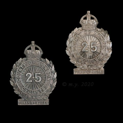 25th County of London (Cyclist) Battalion, The London Regiment Collar Badges