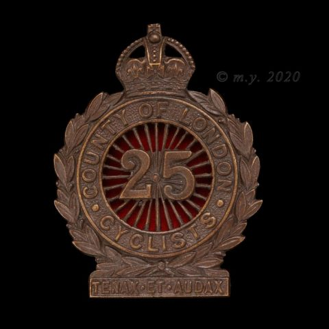 25th County of London (Cyclist) Battalion, The London Regiment Cap Badge